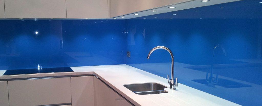 kitchen splashback blue glass