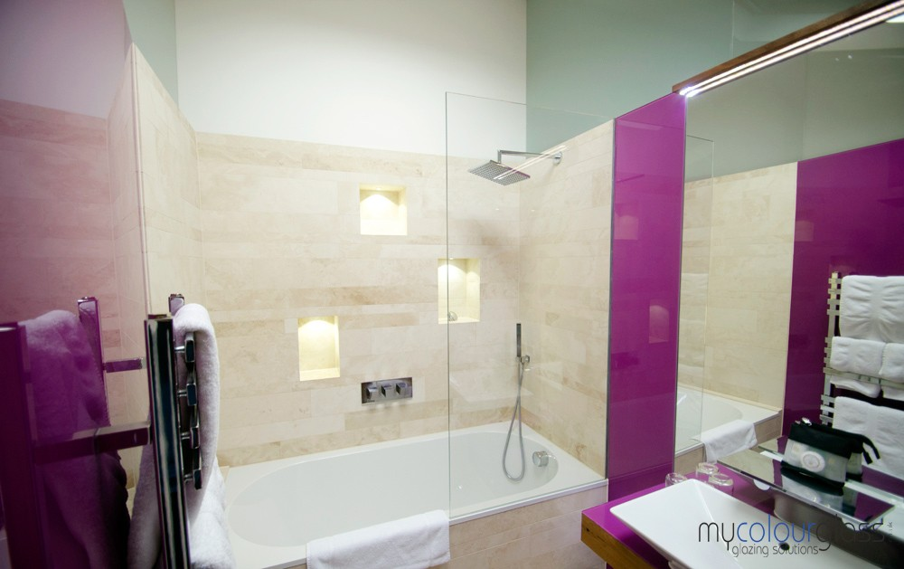 Glass shower screen and mirror