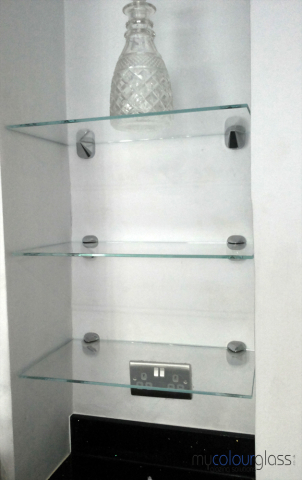 Glass shelves with glass fittings