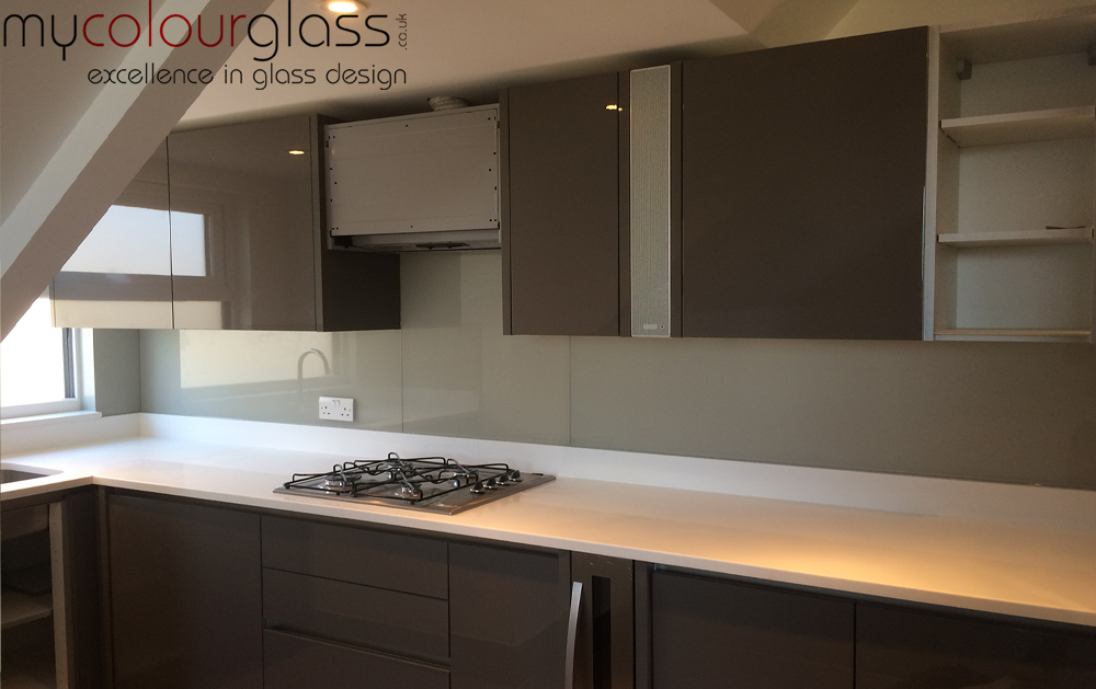 RAL7044 glass splashback