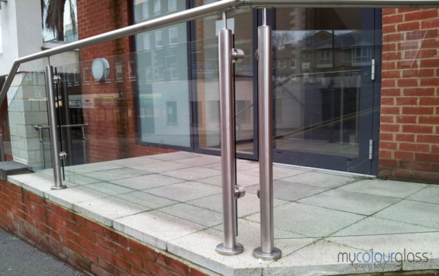 Stainless steel posts and glass balustrade