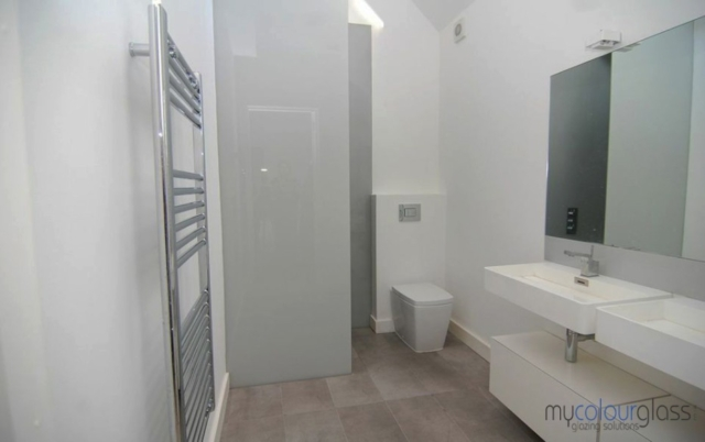 Laminated grey shower screen and mirror