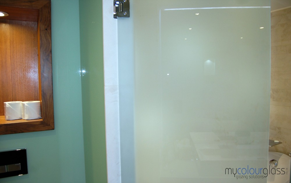Sandblasted glass door and green glass cladding