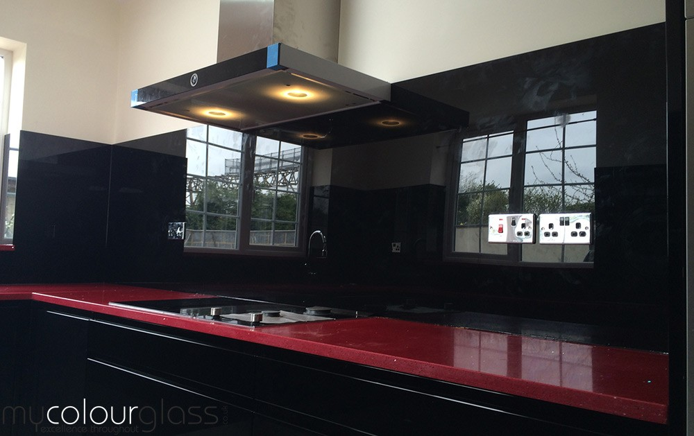 Black glass splashback