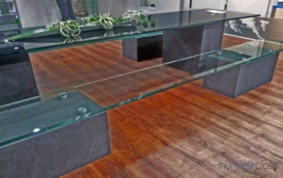 Glass bench and table