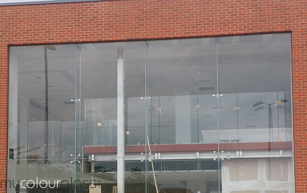 Glass wall with spider fittings