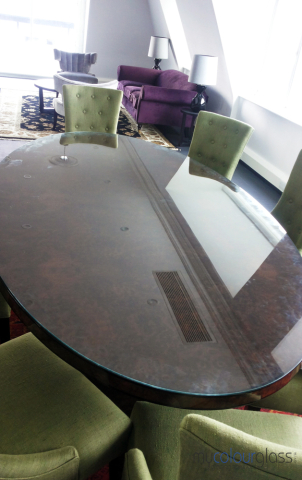 Clear glass table top