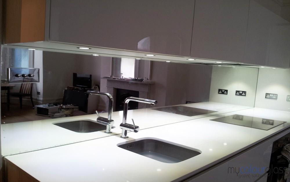 Glass mirror splashbacks for kitchen in UK - MyColourGlass