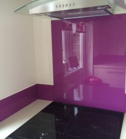 coloured glass splashback