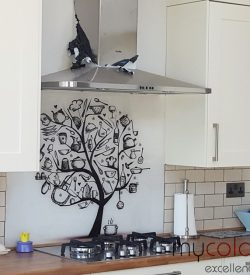 Printed glass splashback kitchen