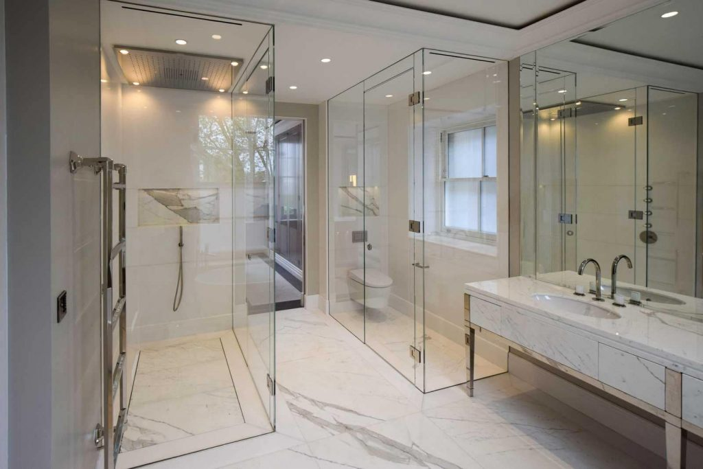 Minimalist Bathroom Glass Doors Image